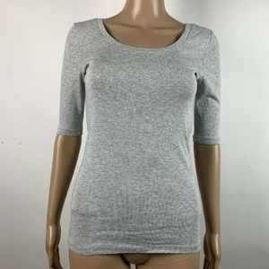J Crew T Shirt Gray Perfect Fit 3/4 Sleeve Knit To